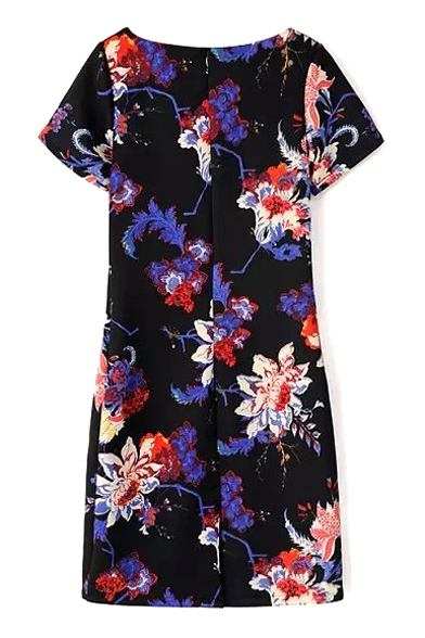 Floral Print Boat Neck Short Sleeve Fitted Dress