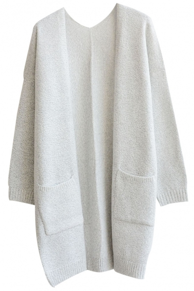 Plain V-Neck Double Pocket Open Front Long Sleeve Tunic Cardigan