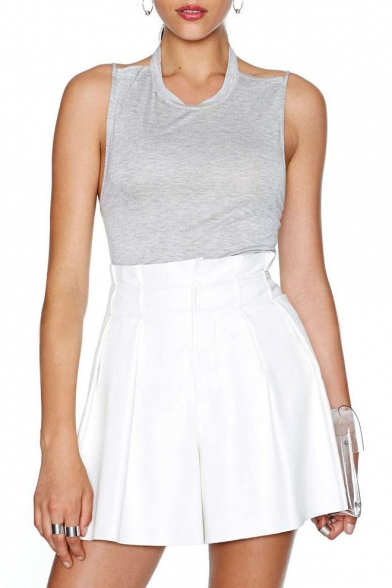 Plain White Pleated PU Flippy Shorts