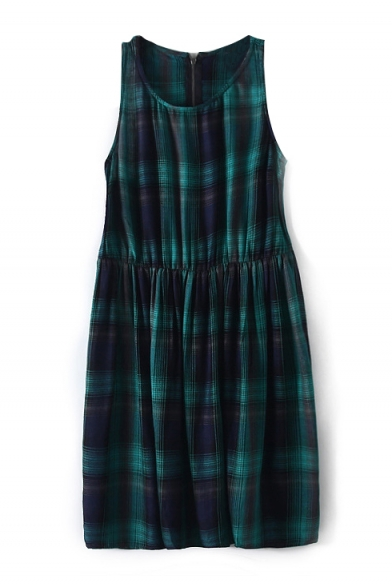 Sleeveless Plaid Print Round Neck Zippered Dress