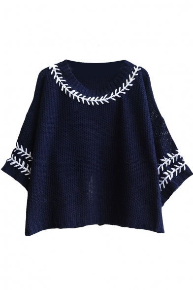 3/4 Sleeve Floral Jacquard Crop Loose Sweater