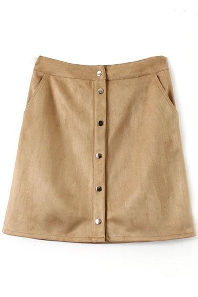 Plain Button A-Line Mini Skirt