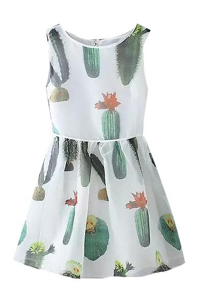 White Sleeveless Cactus Print Ruffle Hem Dress