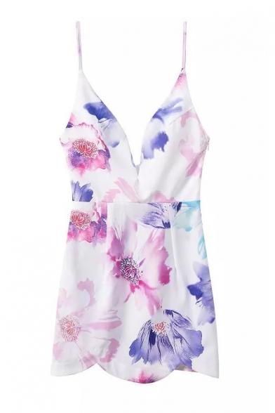 Floral Print Deep V Bodycon Cami Dress