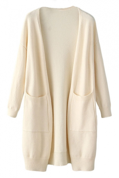 Long Sleeve Double Pocket Open Front Cardigan