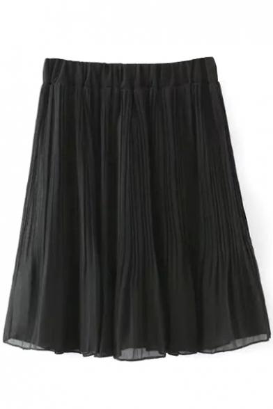 Plain Elasticated High Rise Pleated Skirt