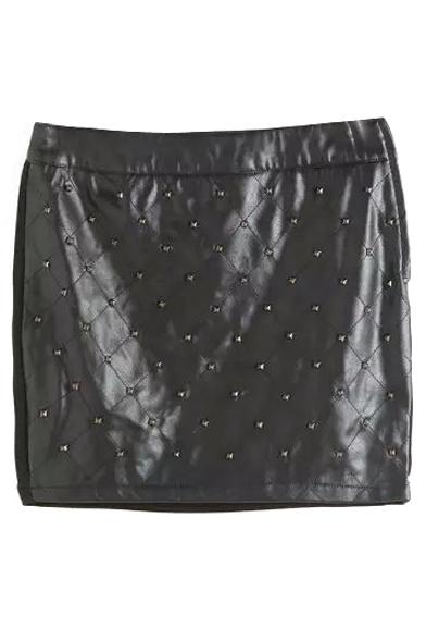 Plain Studded Zipper Side PU Mini Wrap Skirt