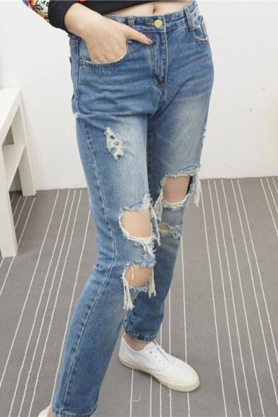 Blue Ripped Boyfriend Loose Light Wash Jeans