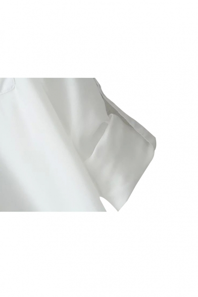 Plain Lapel Double Pocket Chiffon Tunic Shirt
