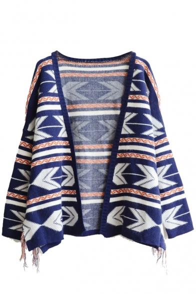 Geometric Pattern V-Neck Open Front Long Sleeve Tassel Slit Side Cardigan