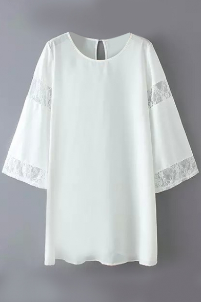 Plain Flare Sleeve Lace Insert Shift Dress
