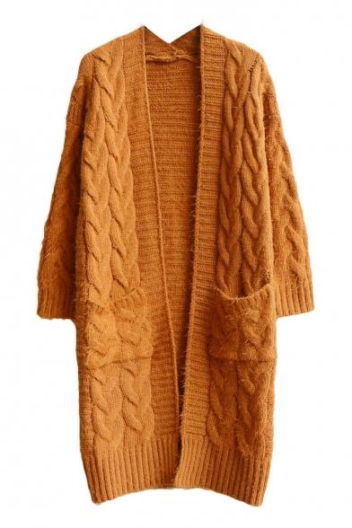 Plain V-Neck Double Pocket Woolen Knit Tunic Cardigan