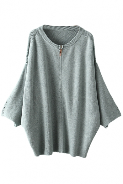 Batwing Sleeve Round Neck Zippered Sweater