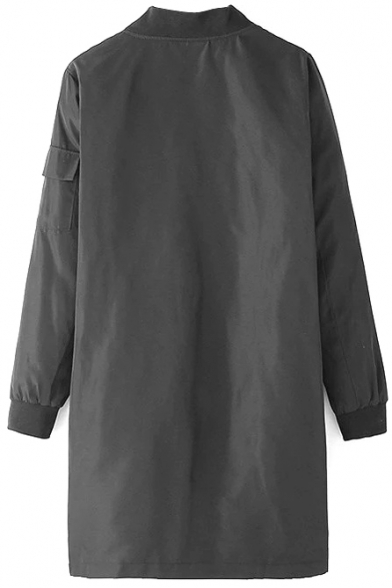 Zip Stand Tunic Collar Sleeve Plain Long Coat 18fTqOwx