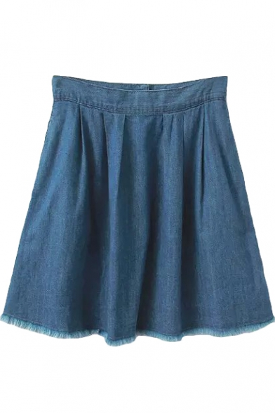Plain High Waist Tassel Trim Denim Mini Skirt