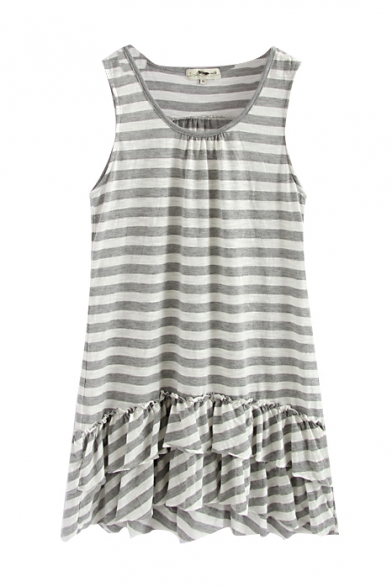 Sleeveless Round Neck Stripe Print Ruffle Hem Dress
