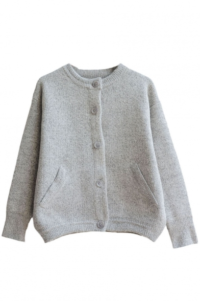 Plain Round Neck Sing-Breasted Long Sleeve Cropped Cardigan