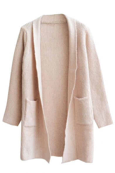 Plain Lapel Open Front Double Pocket Long Sleeve Tunic Cardigan