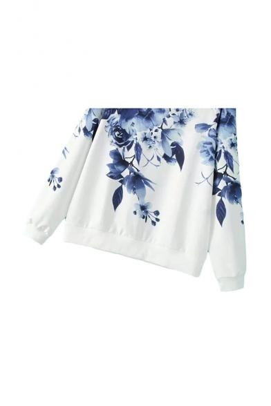 White Round Neck Floral Print Raglan Sleeve Sweatshirt