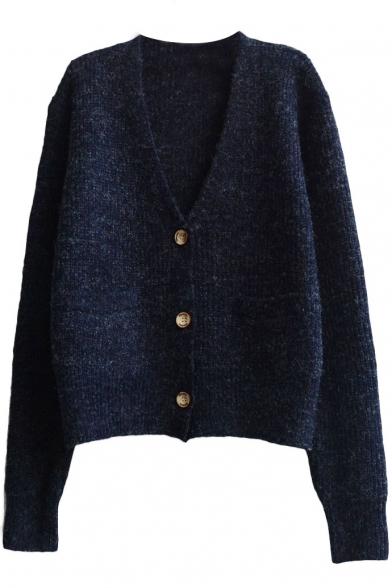 Plain V-Neck Single-Breasted Double Pocket Long Sleeve Knit Cardigan