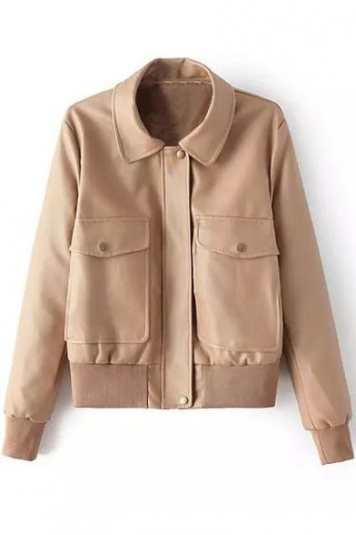 Khaki Lapel Long Sleeve Zipper PU Jacket