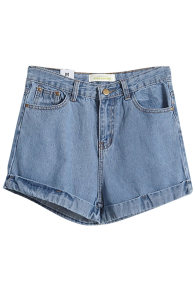 Plain High Waist Zip Fly Cuffed Denim Shorts