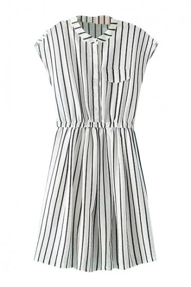 Cap Sleeve Stand-Up Collar Buttons Stripe Dress