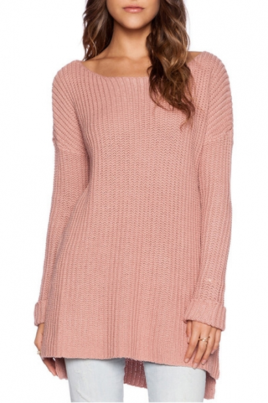 Pink Scoop Neck Long Sleeve Tunic Sweater - Beautifulhalo.com
