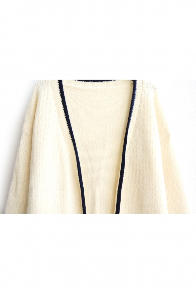 Double Sleeve Pocket Trim Colorblock Cardigan Long Open Front Neck Plain V BRSxA