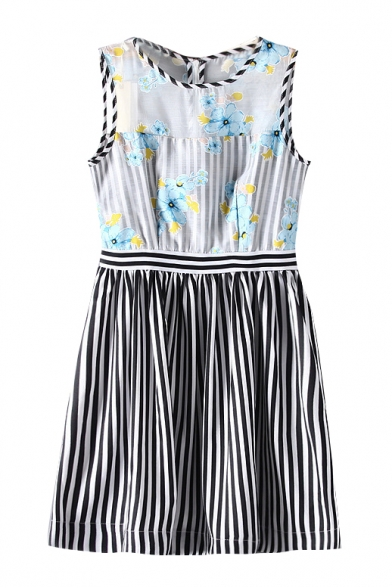Sleeveless Stripe Floral Print Stripe Print Dress