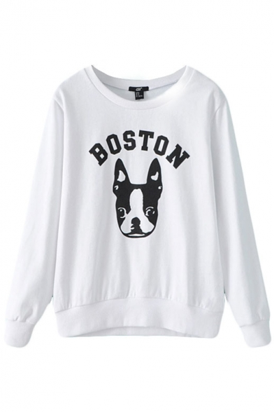 White Long Sleeve Dog Letter Print Fitted Sweatshirt