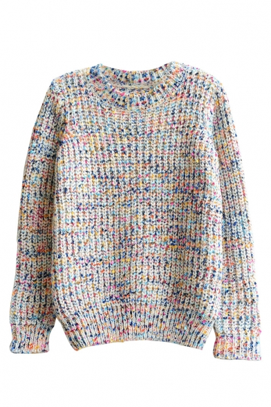 Long Sleeve Multi Color Dot Round Neck Sweater