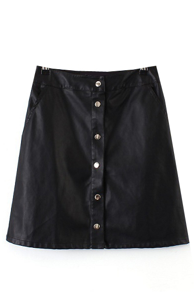 Plain Button High Waist PU A-Line Mini Skirt