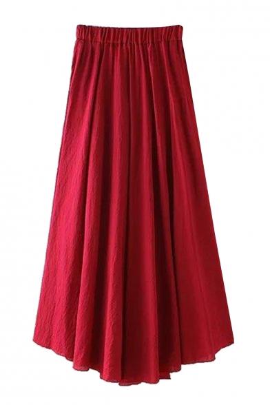 Plain Elasticated Asymmetric Maxi Skirt