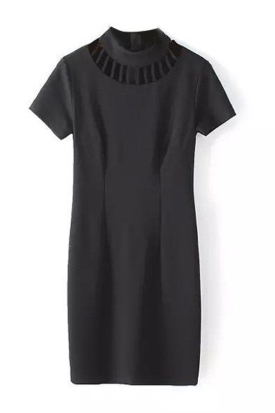 Plain High Neck Cutout Front Short Sleeve Shift Dress