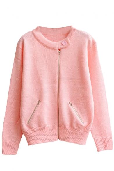Plain Round Neck Zip Front Double Pocket Long Sleeve Knit Cardigan