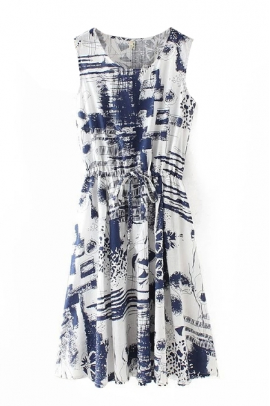 Sleeveless Tribal Ink Print Drawstring Waist Dress
