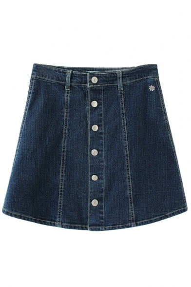 Floral Embroidery High Waist Button Denim Mini Skirt