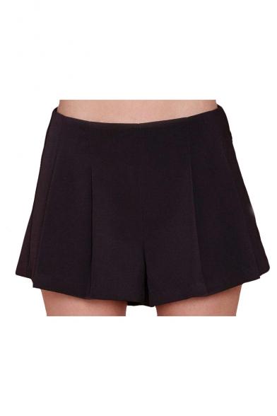 Plain Low Waist Zip Side Flippy Shorts
