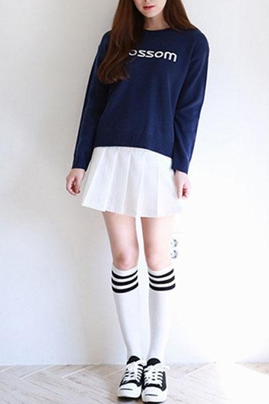Stripe Zip Side Pleated Mini A-Line Skirt