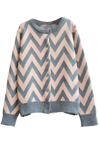 Long Sleeve Round Neck Weave Pattern Fitted Cardigan