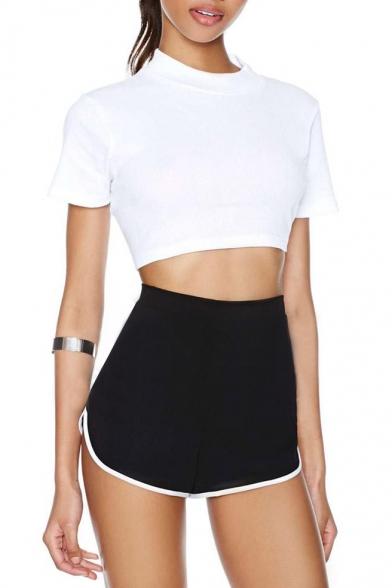 Plain Elasticated High Waist White Piping Shorts