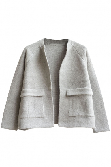 Plain Open Front Double Pocket Long Sleeve Cropped Cardigan