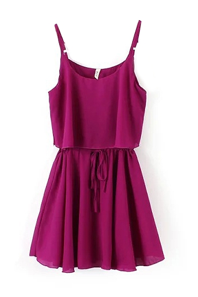 Plain Tie Waist Ruffle Hem Cami Dress