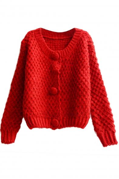 Long Sleeve Round Neck Chunky Knit Crop Cardigan - Beautifulhalo.com