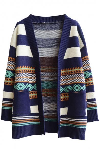 Wide Stripe Geometric Jacquard Open Front Long Sleeve Cardigan