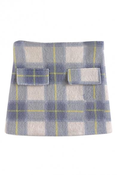 Plaid Floral Print Woolen Mini Wrap Skirt