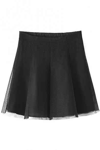 Plain High Rise Mesh Chiffon Skirt