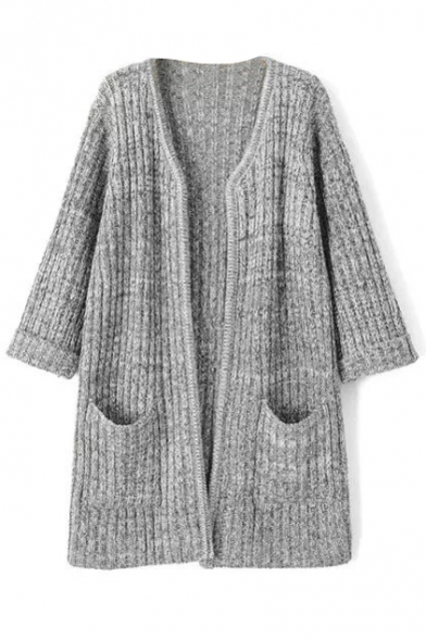 Gray 3/4 Length Sleeve Open Front Cardigan