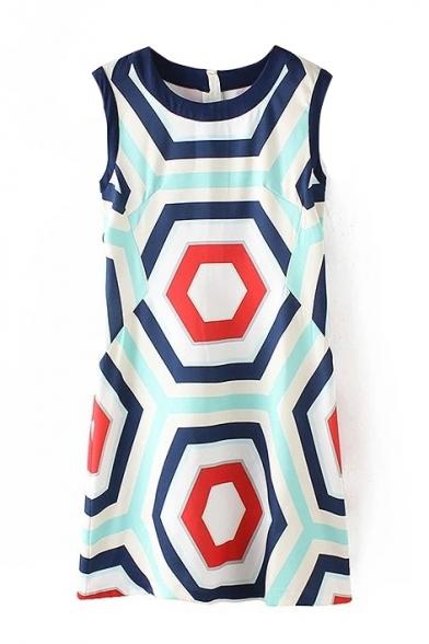 Abstract Geometric Print Sleeveless Round Neck Dress